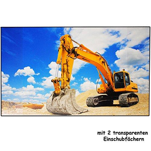 alles-meine.de GmbH XL Schreibtischunterlage / Unterlage -  Bagger auf der Baustelle  - 68 cm * 45 cm - Tischunterlage / Knetunterlage / Bastelunterlage - abwaschbar & abwischb..