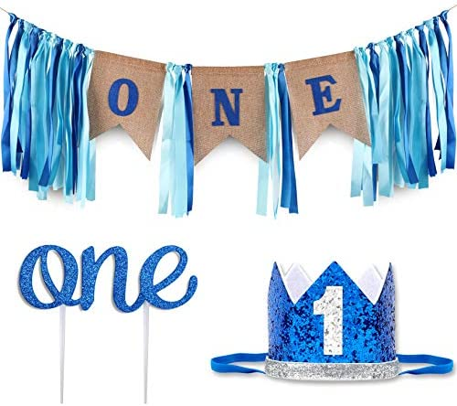 Baby 1st Birthday Boy Decorations with Crown Baby Boy First Birthday Decorations High Chair product image