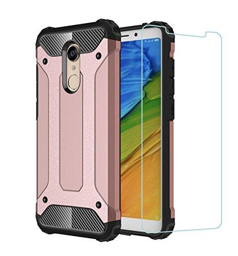"""DESCHE Funda Xiaomi Redmi 5 Plus(5.99"""") Hard PC Soft TPU 2 en 1 360 Armadura Protectora Funda Resistente a los arañazos a Prueba de Golpes Funda Duradera para teléfono+Vidrio Templado Oro Rosa"""