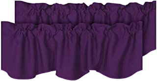 H.VERSAILTEX Thermal Curtain Valances Window Treatments Rod Pocket Room Darkening Scalloped Kitchen Valances 2 Pack, Plum Purple, 52 inch x 18 inch