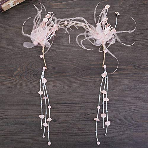 Ihairband Diadema de Cristal, Bridesmaid Simple Sombreros De Plumas Rosa Flor Bordada...