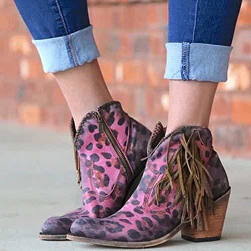 LYYJF Botas cortas de mujer con estampado de leopardo sexy en punta de tobillo botas de tacón alto para mujer, Mujer, rosa, 37 UE