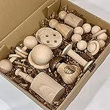 Cesto de los Tesoros: 12 juguetes de madera natural. Fabricación artesana.