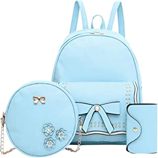 Vielgluck_Bag Girls Pu Fashion Leather Backpack Sets, Cute Mini Bowknot Satchel Round Capacity Crossbody Bag with Chain Fashion Anti-Theft Purse (3 Pack)