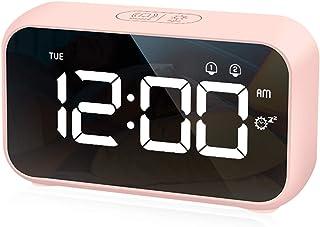 HOMVILLA Réveil Numérique LED avec Fonction Snooze, 2 Alarmes, Surface Miroir Rechargeable USB 12 / 24H pour Bureau de Cha...