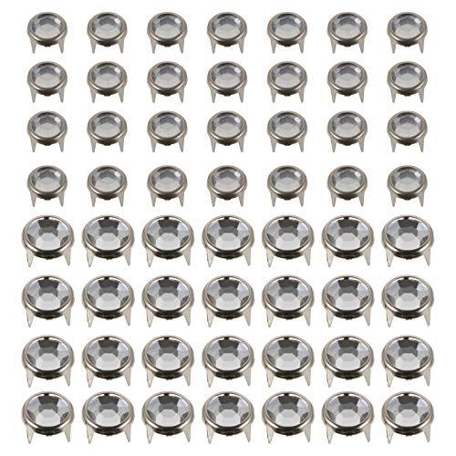 Happyyami 200 Unids Crystal Garra Perlas Nailhead DIY Moda Rhinestone Nailhead Studs Punk Spikes Remaches Decorativos para DIY Cuero Bolso Cinturón Artesanía
