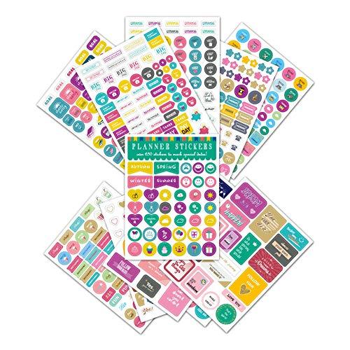 WYDML El Calendario semanal mensual del Tema fomenta el Plan para Decorar Pegatinas de Notas Pegatinas de planificación Creativa 12 Piezas