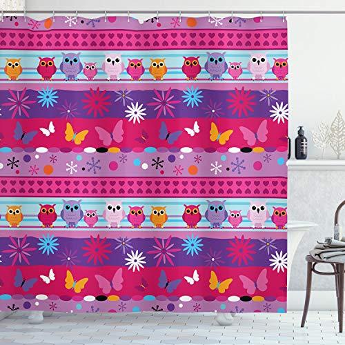 ABAKUHAUS Eule Duschvorhang, Cartoon Eulen & Blumen, mit 12 Ringe Set Wasserdicht Stielvoll Modern Farbfest & Schimmel Resistent, 175x200 cm, Mehrfarbig