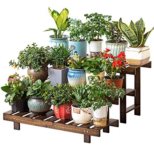 Bamboo 3-Tier Ladder Plant Stand, Planter Holder Flower Pot Display Shelf, Heavy Duty Freestanding Plants Rack for Home Garden Patio Balcony Indoor Outdoor