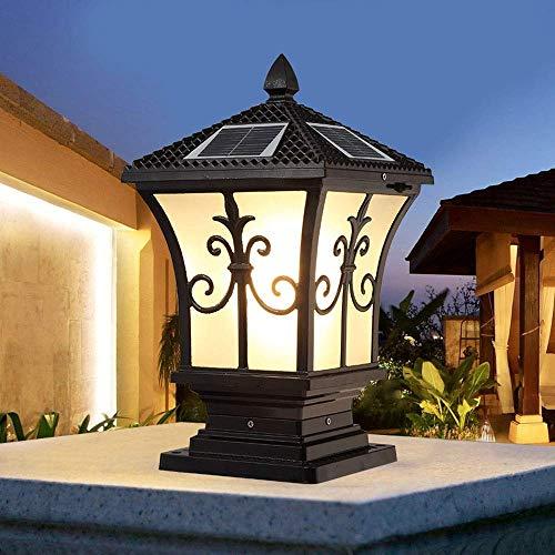 Lámpara de poste solar LED Lámpara de pared para exteriores Decoración de jardín Linterna de pilar Hogar Lámpara de columna de luz de puerta de puerta impermeable súper brillante (Color: Negro-A)