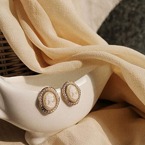 HOULAI Japón nuevo vintage redondo mármol ópalo piedra retrato pendientes para las mujeres moda temperamento imitación perla brinco