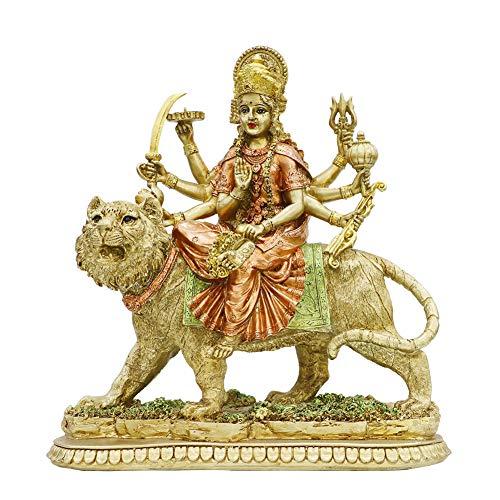 alikiki Hindu Goddess Lord Durga Statue - India God Murti Idol Home Temple Puja Sculpture - Indian Diwali Day Gifts Mandir Pooja Decoration