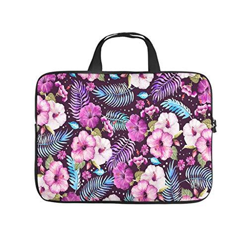 Funda para portátil con diseño de flores tropicales, resistente al desgaste, para universidad, trabajo o negocios.