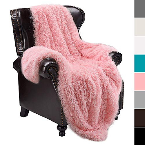 junovo Super Soft Shaggy Longfur Faux Fur Blanket, Fuzzy Throw Blanket for Bed, Fluffy Cozy Plush Light Blanket, Washable Warm Furry Throw Blanket for Couch Sofa Chair Home Decor, 50'x60' Pink
