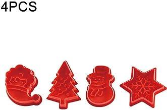 SharpointHome 4 Pcs/Set Christmas Cookie Plunger Cutter Mould Fondant Cake Mold Bake Set
