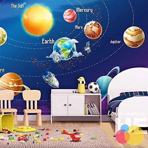 Carta Da Parati 3D Cartone Animato Universo Blu Pianeta Razzo Satellite Sfondo Pittura Murale Affresco Camera Da Letto Per Bambini 450(L) x300(H) cm