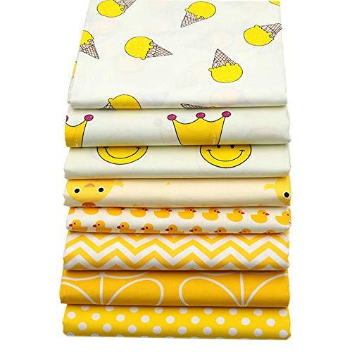Patchworkstoff, 8 Stück, gelbe Serie, je 40 cm x 50 cm, hochwertige Baumwolle, Quilten, Patchwork, Kissen, Nähmaterial, Scrapbook, Puppenbekleidung