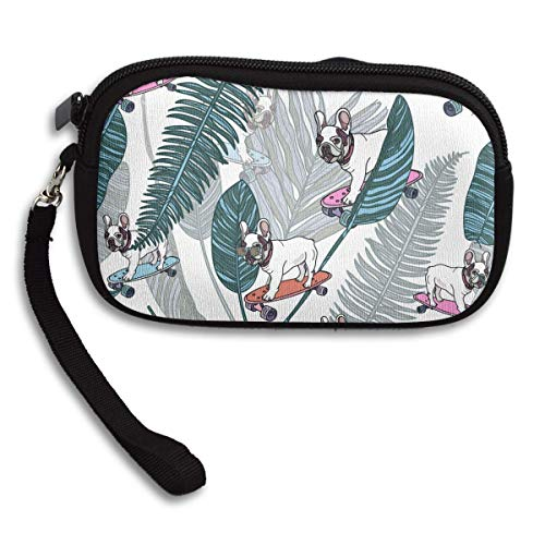 Bulldogs On Skateboards and Tropical Leaves. Deluxe Printing Small Portable Receiving Bag