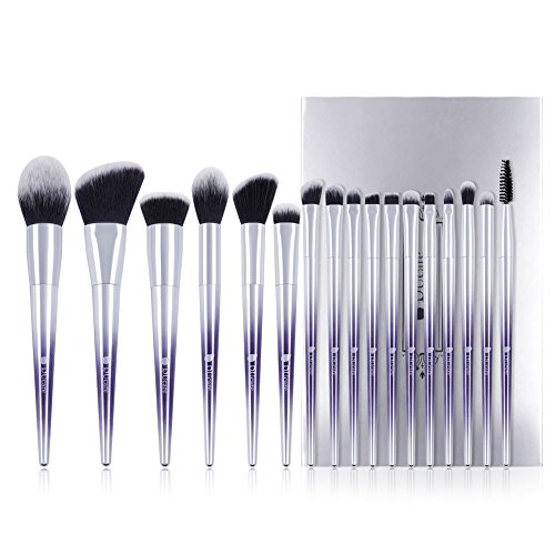DUcare Makeup Brush Set Professional Synthetic Essential Face Eye Shadow Eyeliner Foundation Blush Lip Powder Liquid Cream Blending Brow Brushes Make Up Brushes Set Ombré PurpleampSilver 17Pcs