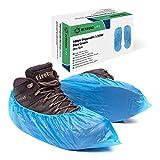 Confezione da 100 sovrascarpe in plastica monouso / copri scarpe per pavimenti | CPE resistente da 3g in una scatola con dispenser, di Shard Global