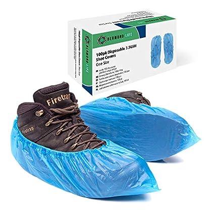 Bermond Life cubrezapatos de plastico, paquete de 100 resistentes, desechables, con caja de almacenamiento, fundas para…
