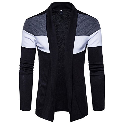 iYBUIA Mens Autumn Winter Slim Fit Hooded Knit Sweater Fashion Patchwork Trench Coat Jacket (Black,L)