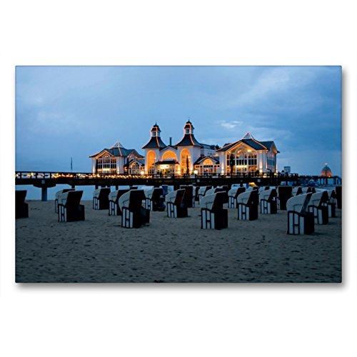 Premium Textil-Leinwand 90 x 60 cm Quer-Format Seebrücke Sellin | Wandbild, HD-Bild auf Keilrahmen, Fertigbild auf hochwertigem Vlies, Leinwanddruck von Steffen Gierok