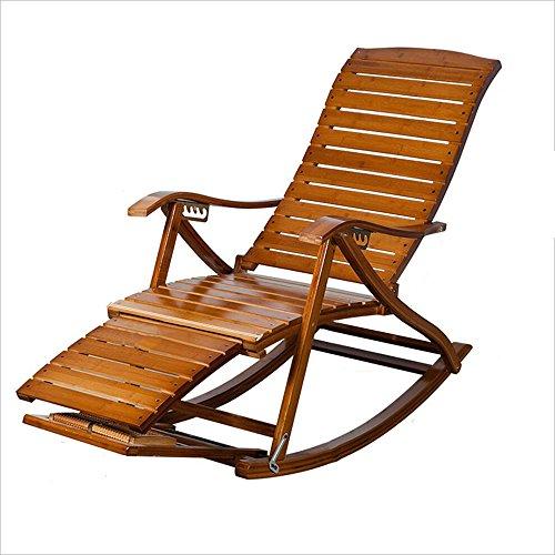 Xiaolin Loisirs Chaise berçante Bambou Chaise berçante Vieux Homme Pause déjeuner Chaise par Chaise Chaise en Bois Massif Paresseux