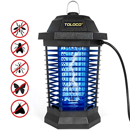 TOLOCO Bug Zapper Mosquito Killer, Fly Trap Outdoor Patio, Mosquito Attractant Trap for Outdoor and Indoor, Insect Zapper with Hook, Hangable [Zap T6 Pro]
