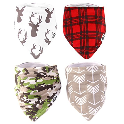 Stadela 100% Cotton Baby Bandana Drool Bibs for Drooling and Teething Nursery Burp Cloths 4 Pack Baby Shower Gift Set for Boys Hunting Adventure with Deer Antler Arrows Plaid Woodland Forest Animal