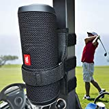 HomeMount Portable Speaker Mount for Golf Cart Accessories - Adjustable Strap Fits Bluetooth Wireless Speaker Strap Attachment to Railing/Cross bar/Frame Black