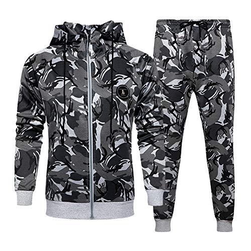 Men's camouflage Zipper Jacket Drawstring Waistband Tracksuit, Gray-XL