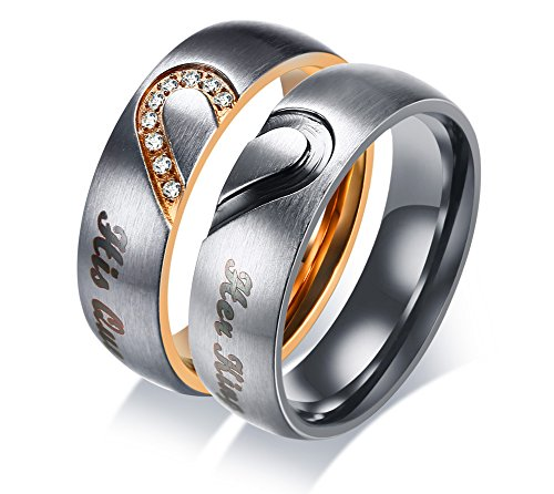 VNOX 2Pcs His Her Stainless Steel Heart Matching Promise Couple Rings Valentine Gift His Queen Her King Engraved