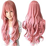 ANOGOL Pink Long Wavy Cosplay Wig Synthetic Wig Pink Cosplay Wig for Girls Pink Wavy Cosplay Costume Wig for Kids Cosplay Wig With Bangs for Halloween