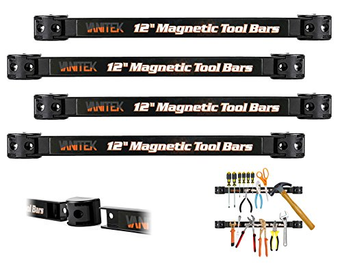 "Vanitek 4 Heavy-Duty 12"" Magnetic Tool Holder Racks | Super Strong Metal Magnet Storage Tool Organizer Bars Set | Great for Garage/Workshops (Mounting Screws Included)"