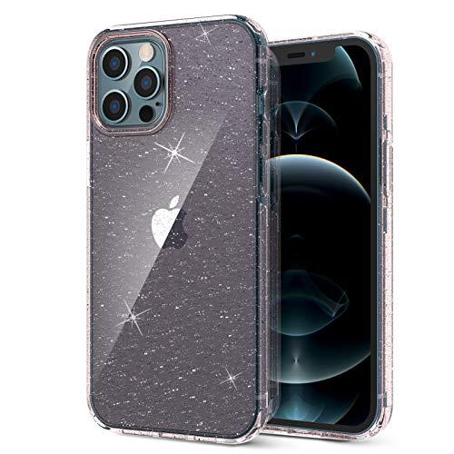 ORNARTO Coque pour iPhone 12 Pro Max 6,7, Paillette Bling Rugged Antichoc Hybrid PC+TPU Housse de Protection pour iPhone 12 Pro Max (2020) 6,7'-Rosa