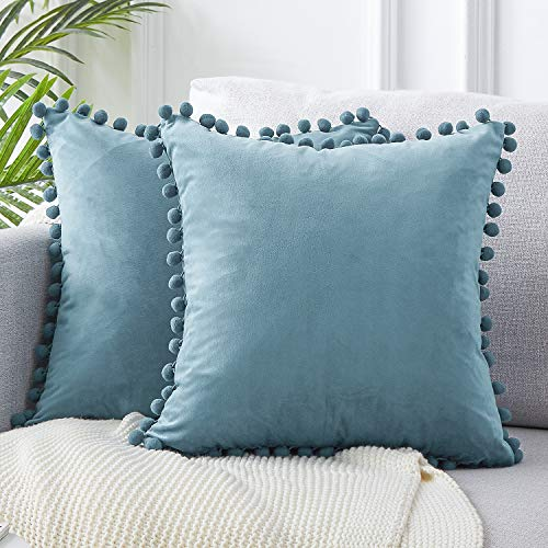 Top Finel Decorative Throw Pillow Covers for Couch Bed Soft Particles Velvet Solid Cushion Covers with Pom-poms 18 x 18 Inch 45 x 45 cm, Pack of 2, Pale Blue
