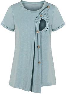 Sutinna Camiseta de Manga Corta con Botones para Mujeres Embarazadas Que amamantan