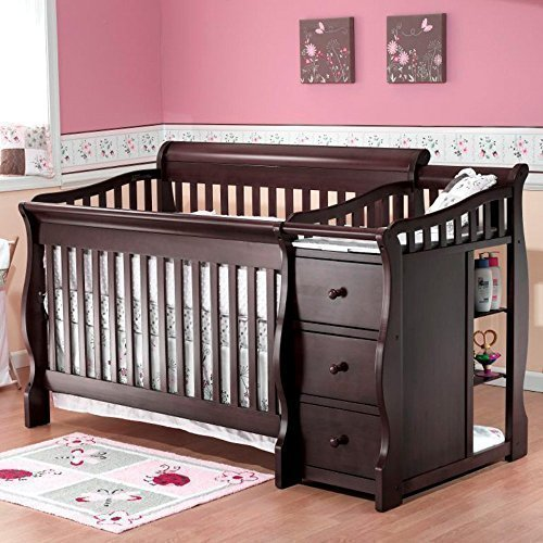 Sorelle Sorelle Tuscany 4-in-1 Convertible Crib and Changer Combo, Espresso, Solid Birch Wood by Sorelle