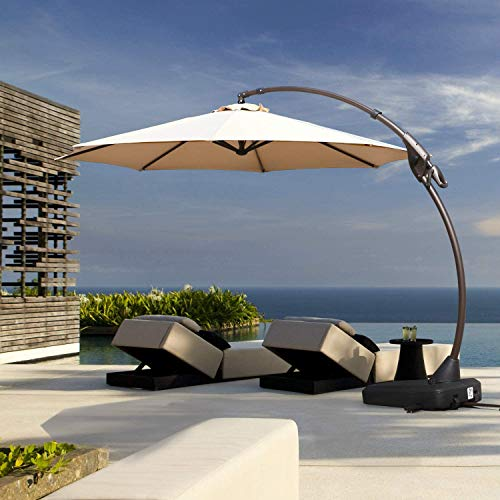 Grand Patio Deluxe NAPOLI 11 FT Curvy Aluminum Offset Umbrella, Patio Cantilever Umbrella with Base, Champagne