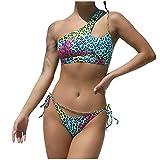 POachers Mujer Bikinis un Hombro de Color Leopard Tanga Sexy Bañadores con Anillo Hebilla Push Up con Relleno Estampado Traje de Baño Natacion Playa Verano Fiesta Piscina Tops y Braguitas 2 Piezas