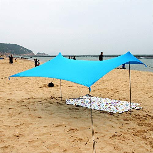 Tiendas de campaña Tienda familiar Beach Sun de la sombrilla de sombra instantánea Carpa Cabana Canopy Sunwall UPF50 Protección UV con 2 Ligero plegable de acero de la bolsa de arena polos 4 anclas gr