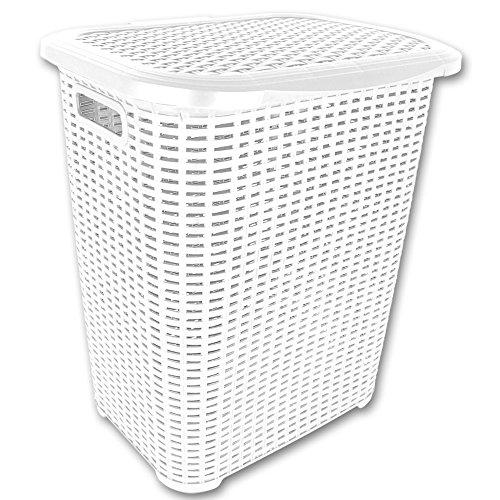 TW24 Wäschetruhe - Wäschekiste - Wäschesammler - Wäschekorb Rattan 45L mit Farbauswahl (45L Weiß)