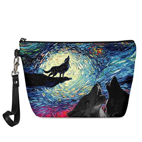 HUGS IDEA Bolsa de maquillaje con estampado de lobo estrellado de la noche de viaje casual bolso de mano de cuero de la PU de las mujeres