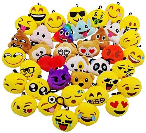 JZK 38 x Mini plushen speelgoed 5cm geel kleine emoji sleutelhanger voor kinder verjaardagfeest gunsten, kinderen verjaardagscadeau feest gasten cadeau