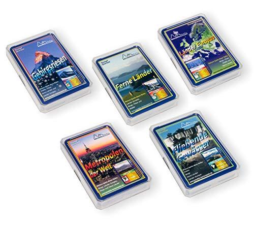 Wendels Kartenspiele 5er-Set: Berge Flüsse Städte und Länder Trumpf Quartett Spiele | Kleine Geschenke für Kinder & Familie