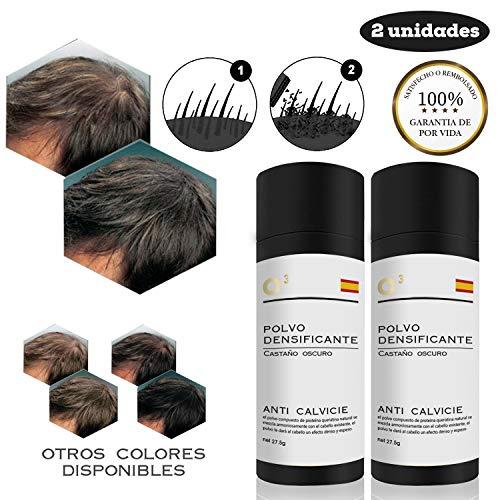 O³ Fibras Capilares Castaño Oscuro 2 Unidades - Keratin Fibers Castaño Oscuro 100% Natural para Disimular Calvicie y Aumentar el volumen. Maquillaje Capilar por hombres y mujeres - 27,5 g Neto x 2