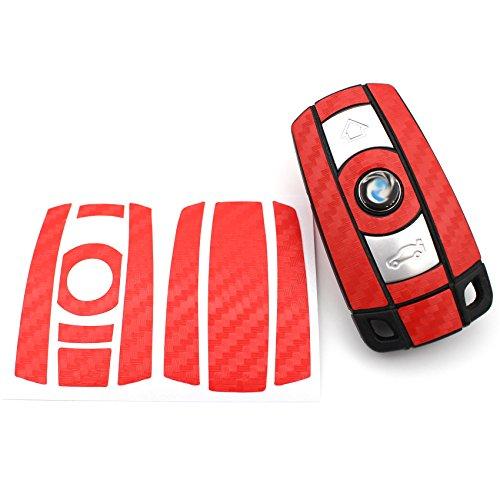 Finest-Folia Schlüssel Folie K141 für 3 Tasten Auto Schlüssel (nur Keyless Go) Folien Cover (Rot Carbon)