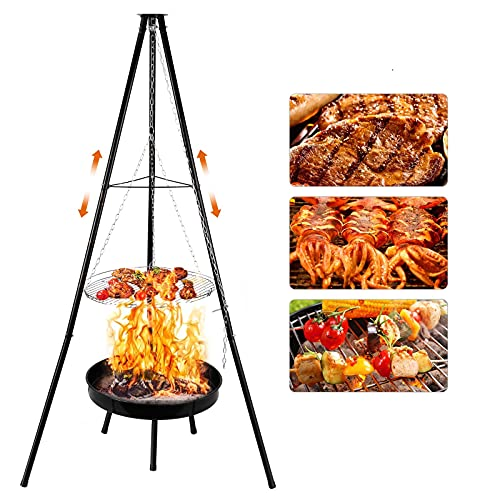 KKTECT - Juego de parrilla de trípode de cocina para exteriores, altura ajustable, trípode giratorio para colgar barbacoa y tazón de fuego para jardín, fiesta, patio trasero, camping