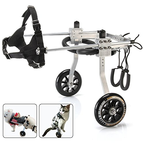 ANMAS POWER Dog Wheelchair Dog Mobility Harness,Rear Support Wheelchair, Hind Legs Rehabilitation Aluminium Material 2 Wheels (S)